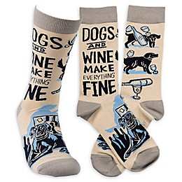 """Primitives by Kathy® """"Dogs and Wine"""" One-Size Adult Socks"""