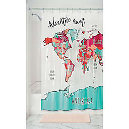 Travel Map PEVA Shower Curtain in Magenta/Teal