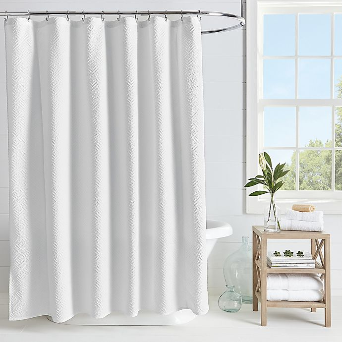 Alternate image 1 for Microsculpt Arrow 54-Inch x 78-Inch Shower Curtain in White