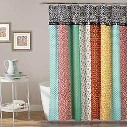 Boho Patch Shower Curtain in Orange