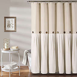 Linen Button Shower Curtain in Linen