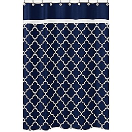 Sweet Jojo Designs Navy Blue and White Trellis Shower Curtain