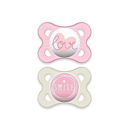 MAM Attitude 0-6 Months Orthodontic Pacifier (Set of 2) in Pink/Clear