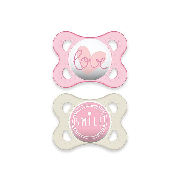Alternate image 1 for MAM Attitude 0-6 Months Orthodontic Pacifier (Set of 2) in Pink/Clear
