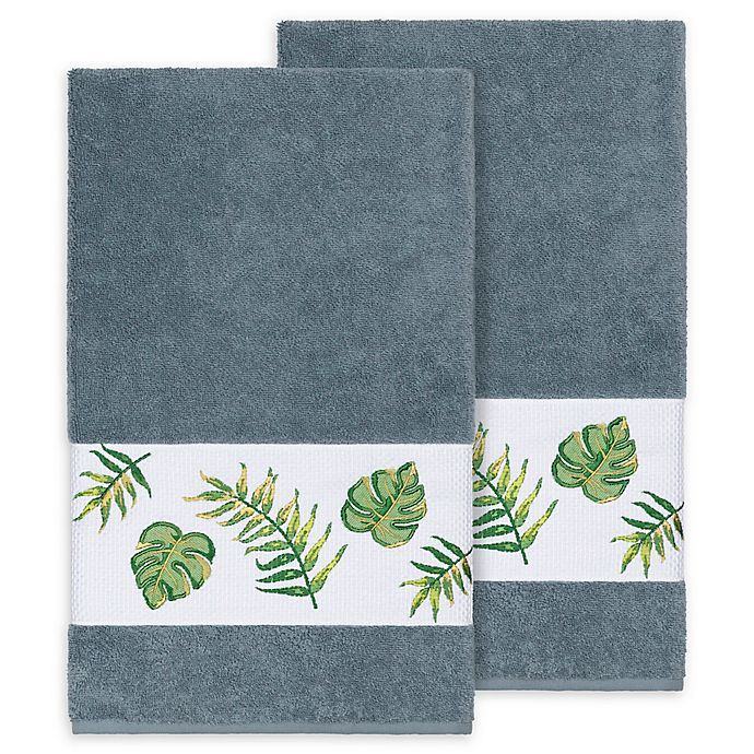 Alternate image 1 for Linum Home Textiles Zoe Tropical Bath Towels in Teal (Set of 2)