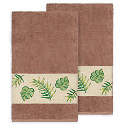 Linum Home Textiles Zoe Tropical Bath Towels in Latte (Set of 2)