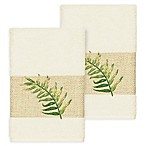 Linum Home Textiles Zoe Tropical Hand Towels in Cream (Set of 2)