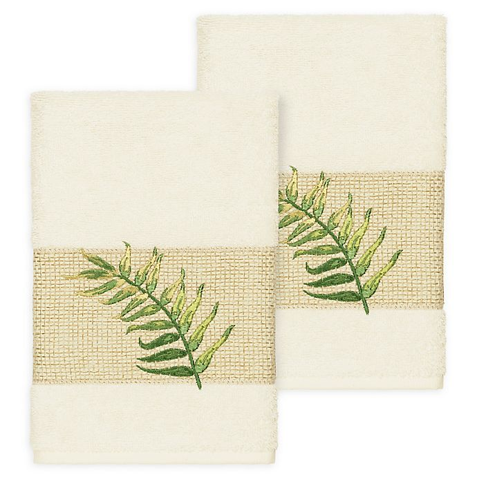 Alternate image 1 for Linum Home Textiles Zoe Tropical Hand Towels in Cream (Set of 2)