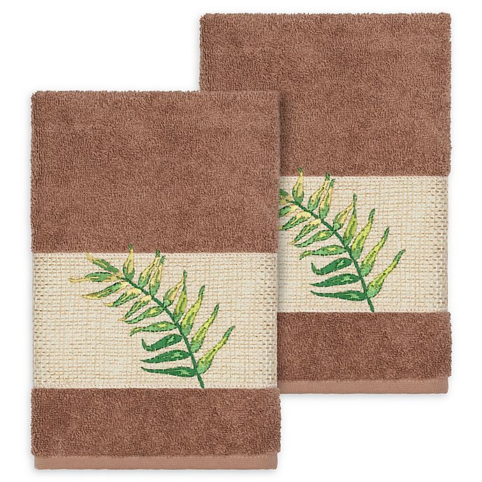 Alternate image 1 for Linum Home Textiles Zoe Tropical Hand Towels in Latte (Set of 2)