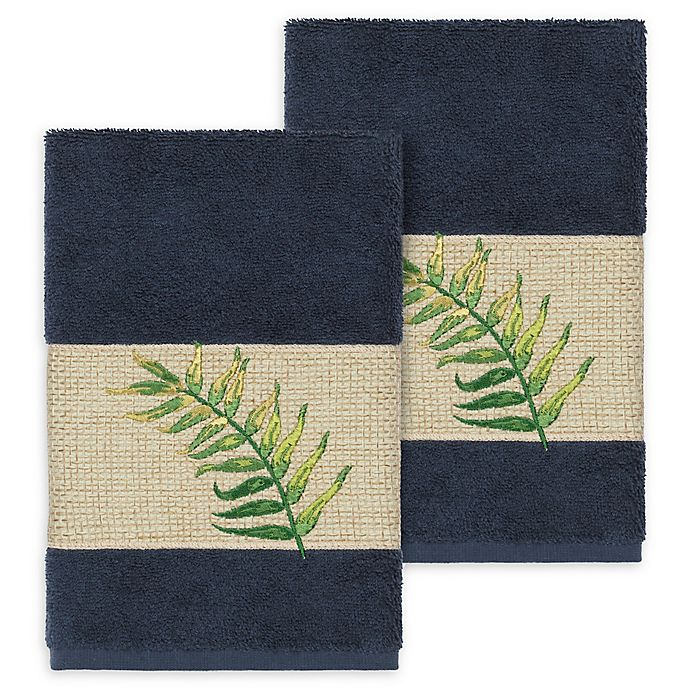 Alternate image 1 for Linum Home Textiles Zoe Tropical Hand Towels in Midnight Blue (Set of 2)