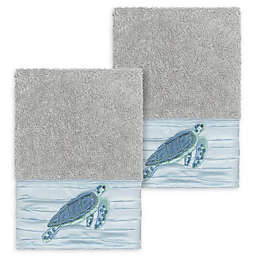 Linum Home Textiles Mia Sea Turtle Washcloths in Light Grey (Set of 2)