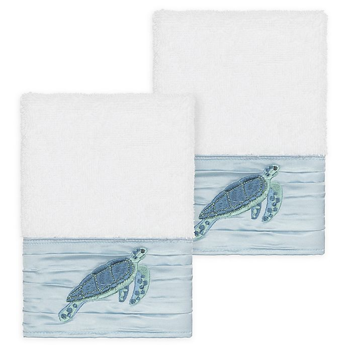 Alternate image 1 for Linum Home Textiles Mia Sea Turtle Washcloths in White (Set of 2)