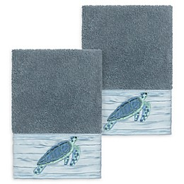 Linum Home Textiles Mia Sea Turtle Washcloths (Set of 2)