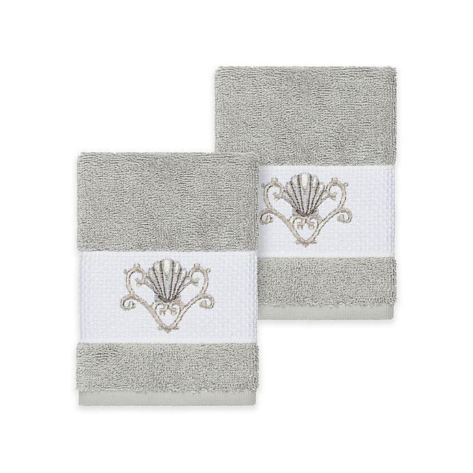 Alternate image 1 for Linum Home Textiles Bella Seashell Washcloths in Light Grey (Set of 2)