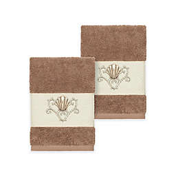 Linum Home Textiles Bella Seashell Washcloths in Latte (Set of 2)