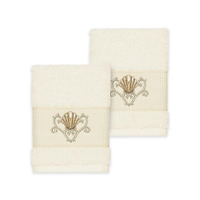 Alternate image 1 for Linum Home Textiles Bella Seashell Washcloths in Cream (Set of 2)