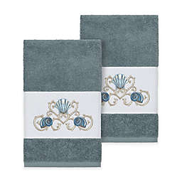 Linum Home Textiles Bella Seashell Hand Towels in Teal (Set of 2)