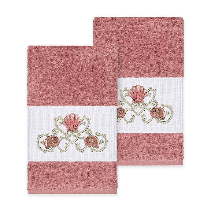 Alternate image 1 for Linum Home Textiles Bella Seashell Hand Towels in Tea Rose (Set of 2)