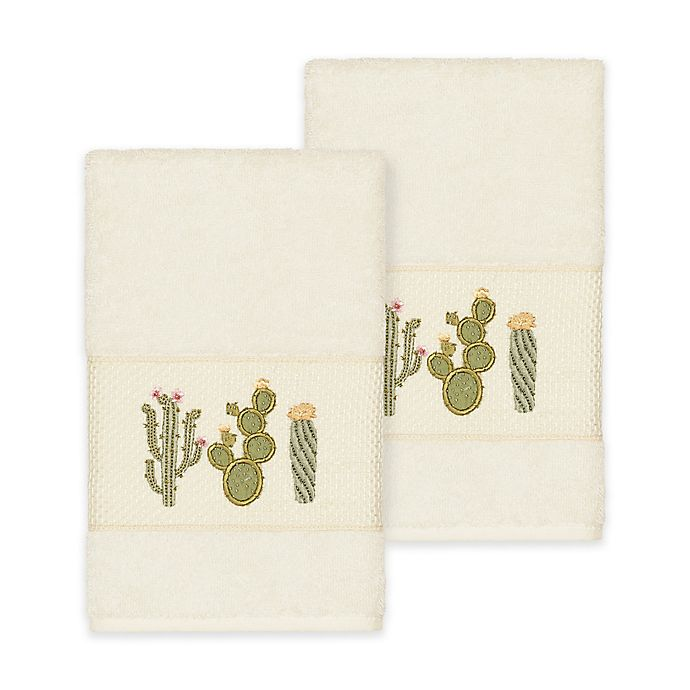 Alternate image 1 for Linum Home Textiles Mila Hand Towels in Cream (Set of 2)