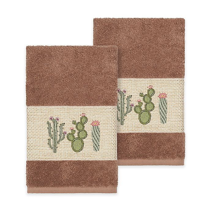 Alternate image 1 for Linum Home Textiles Mila Hand Towels in Latte (Set of 2)