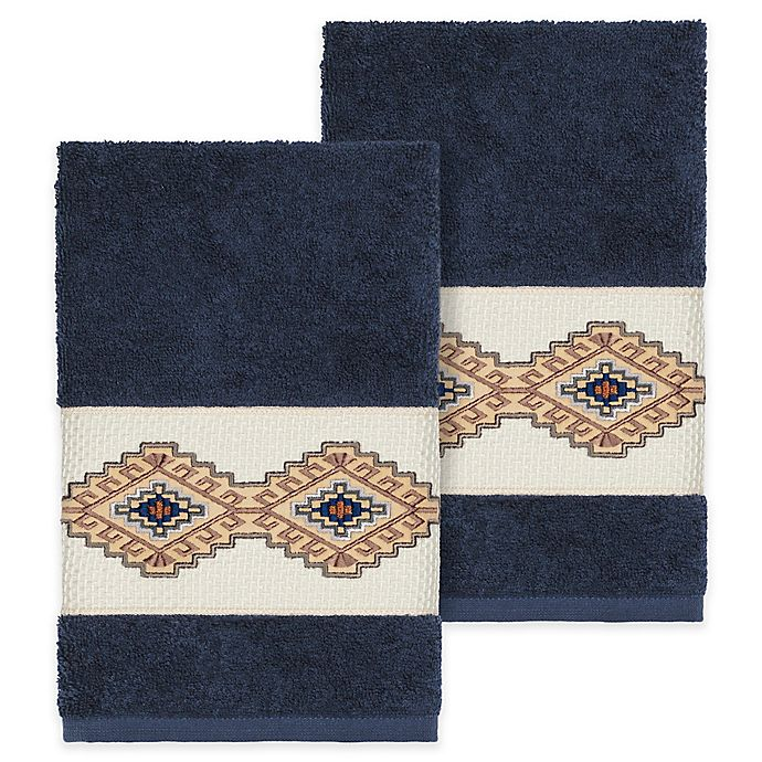 Alternate image 1 for Linum Home Textiles Gianna Hand Towels in Midnight Blue (Set of 2)