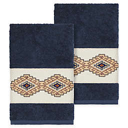 Linum Home Textiles Gianna Hand Towels in Midnight Blue (Set of 2)