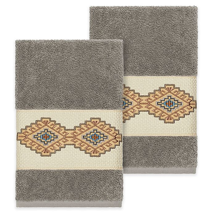 Alternate image 1 for Linum Home Textiles Gianna Hand Towels in Dark Grey (Set of 2)