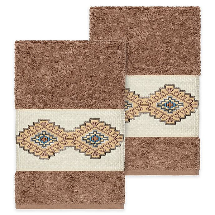 Alternate image 1 for Linum Home Textiles Gianna Hand Towels in Latte (Set of 2)