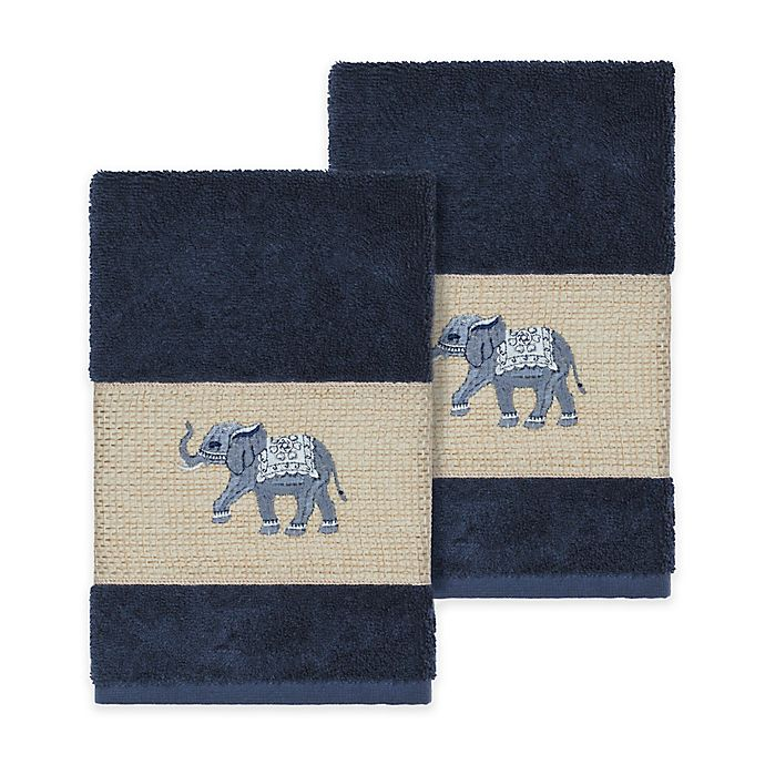 Alternate image 1 for Linum Home Textiles Quinn Hand Towels in Midnight Blue (Set of 2)