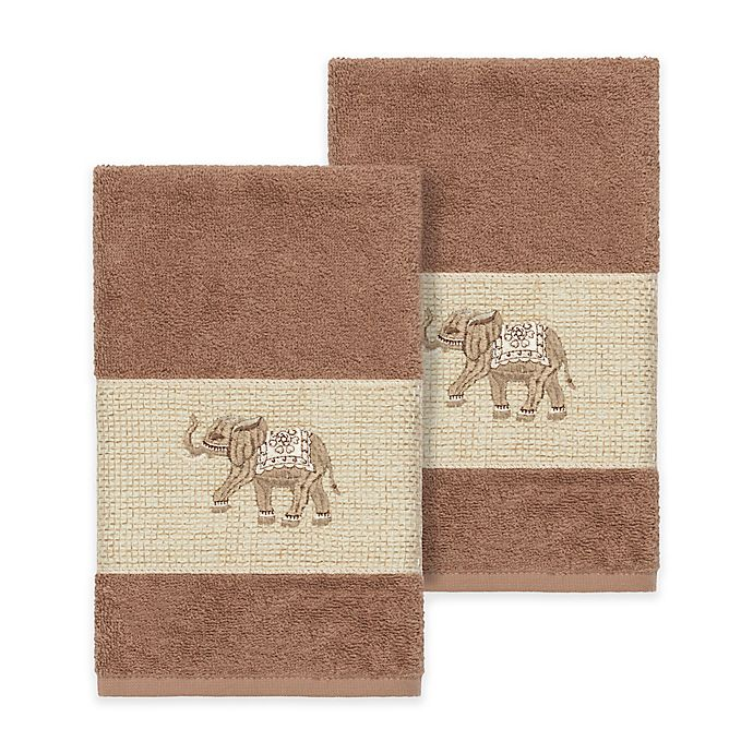 Alternate image 1 for Linum Home Textiles Quinn Hand Towels in Latte (Set of 2)