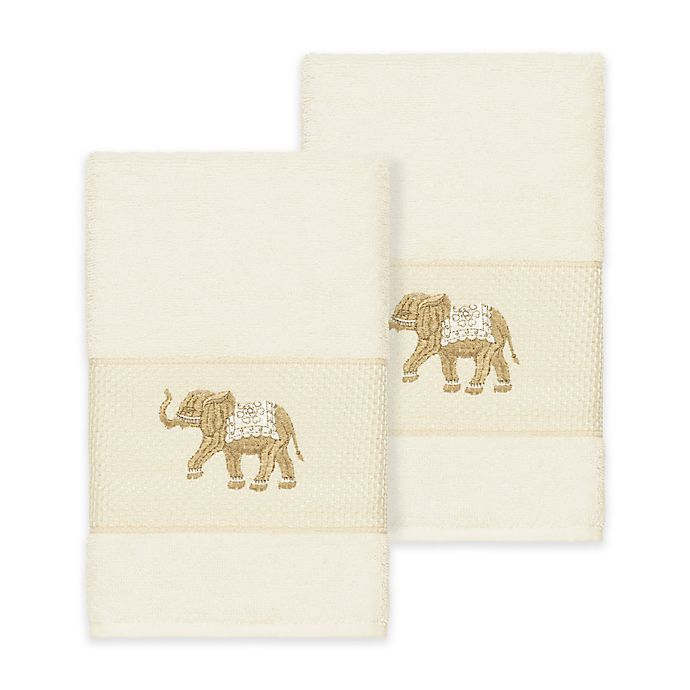 Alternate image 1 for Linum Home Textiles Quinn Hand Towels in Cream (Set of 2)