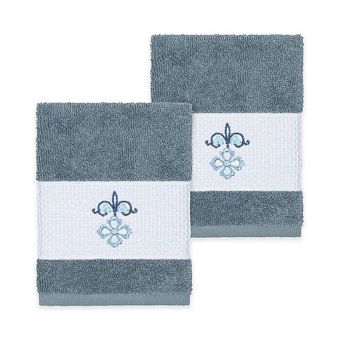 Alternate image 1 for Linum Home Textiles Quinn Washcloths in Teal (Set of 2)