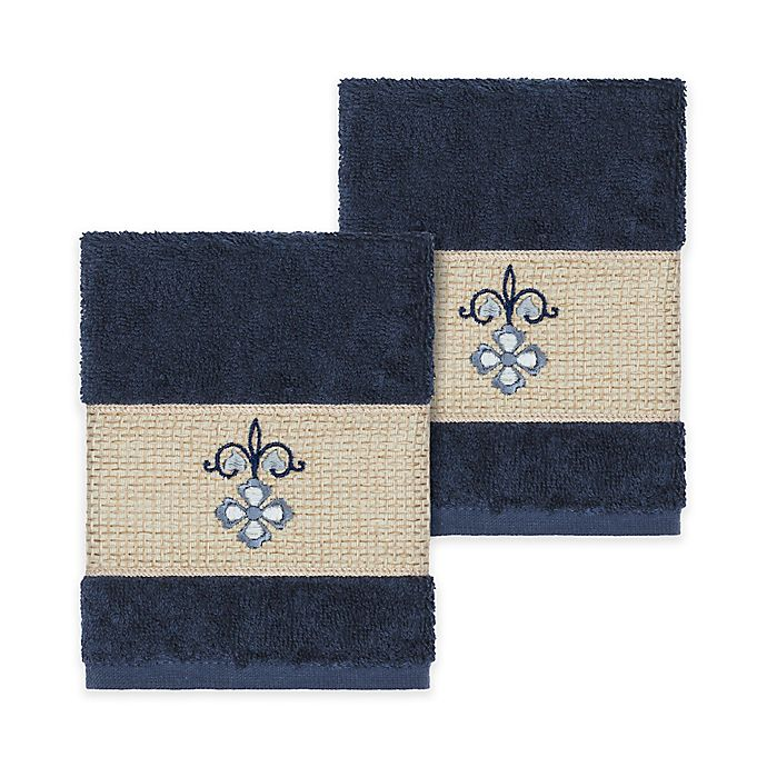 Alternate image 1 for Linum Home Textiles Quinn Washcloths in Midnight Blue (Set of 2)