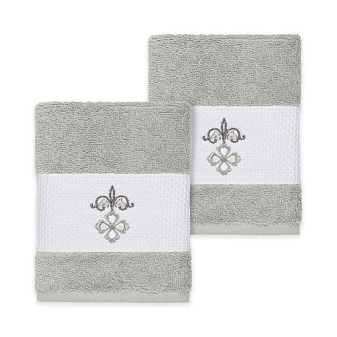 Alternate image 1 for Linum Home Textiles Quinn Washcloths in Light Grey (Set of 2)