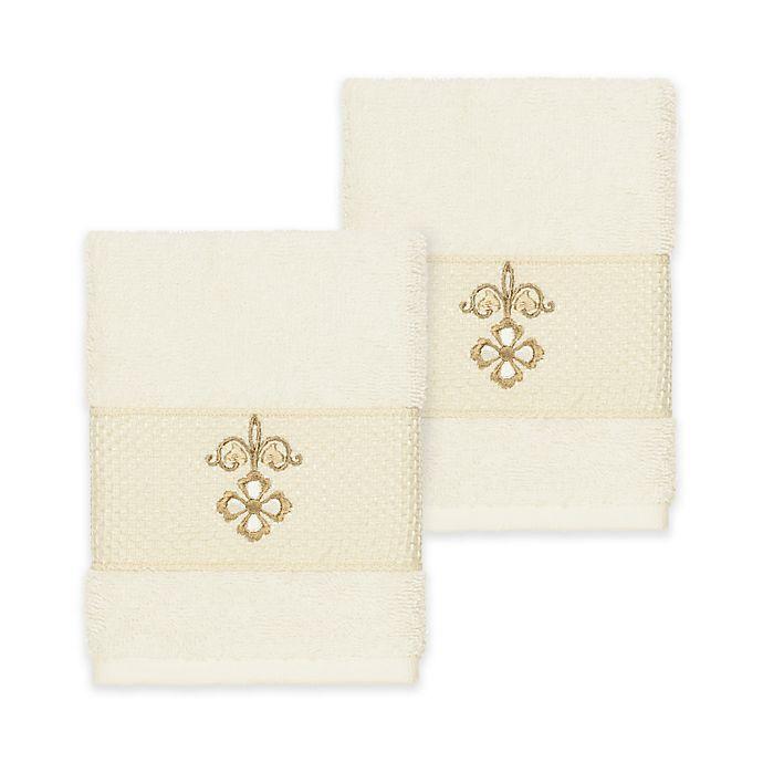 Alternate image 1 for Linum Home Textiles Quinn Washcloths in Cream (Set of 2)