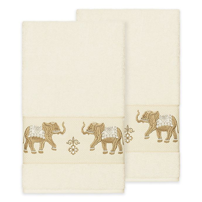 Alternate image 1 for Linum Home Textiles Quinn Bath Towels in Cream (Set of 2)