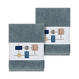 Linum Home Textiles Khloe Washcloths in Teal (Set of 2)