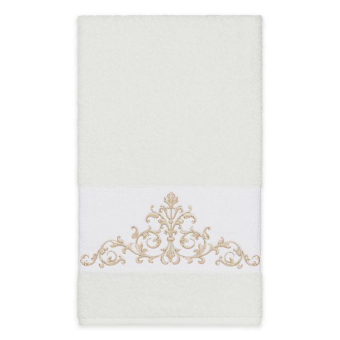 Alternate image 1 for Linum Home Textiles Scarlet Crest Bath Towel in White