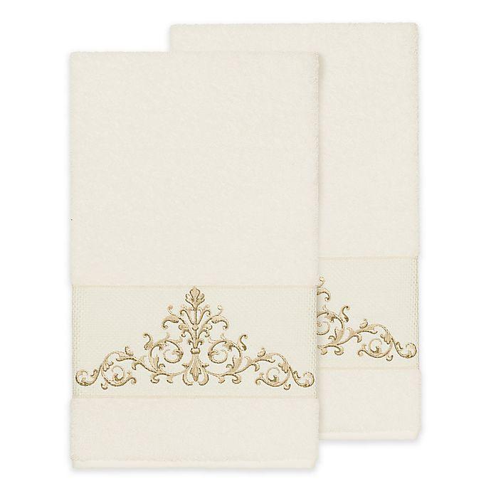 Alternate image 1 for Linum Home Textiles Scarlet Crest Bath Towels in Cream (Set of 2)