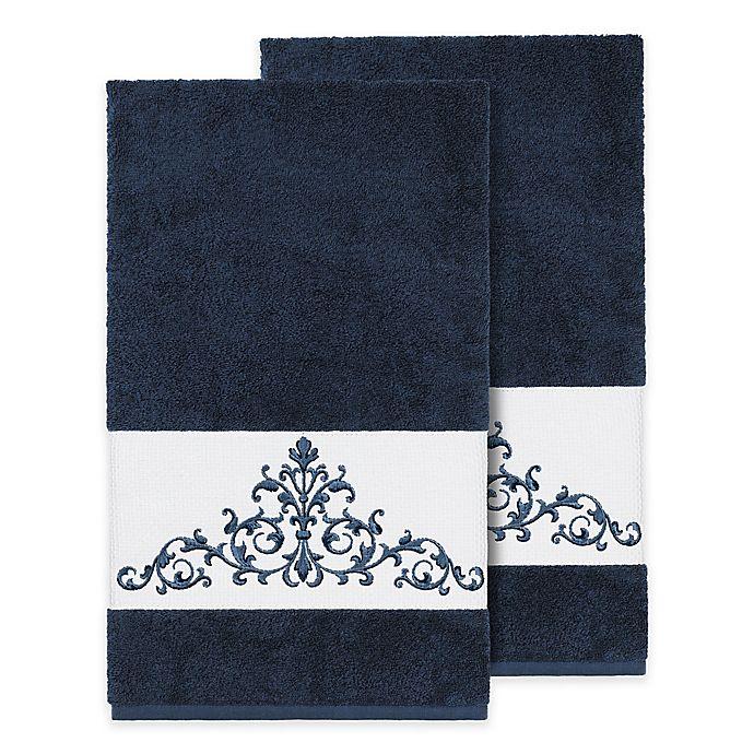 Alternate image 1 for Linum Home Textiles Scarlet Crest Bath Towels in Midnight Blue (Set of 2)