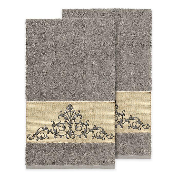 Alternate image 1 for Linum Home Textiles Scarlet Crest Bath Towels (Set of 2)