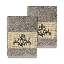 Linum Home Textiles Scarlet Crest Washcloths (Set of 2)