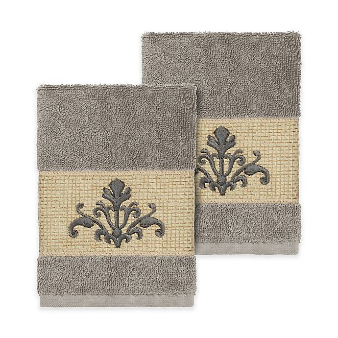 Alternate image 1 for Linum Home Textiles Scarlet Crest Washcloths in Dark Grey (Set of 2)