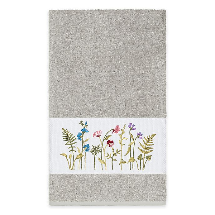 Alternate image 1 for Linum Home Textiles Serenity Wildflower Bath Towel in Light Grey