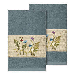 Linum Home Textiles Serenity Wildflower Hand Towels in Teal (Set of 2)