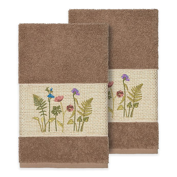 Alternate image 1 for Linum Home Textiles Serenity Wildflower Hand Towels in Latte (Set of 2)