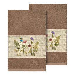 Linum Home Textiles Serenity Wildflower 2-Piece Hand Towel Set  in Latte