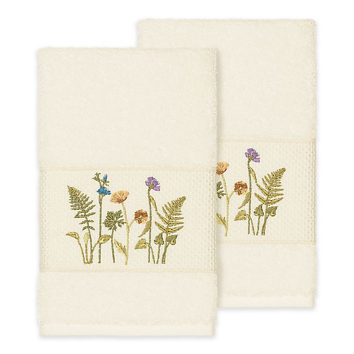 Alternate image 1 for Linum Home Textiles Serenity Wildflower Hand Towels in Cream (Set of 2)