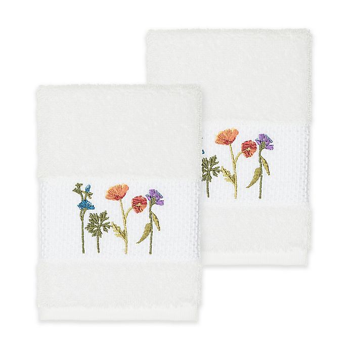 Alternate image 1 for Linum Home Textiles Serenity Wildflower Washcloths in White (Set of 2)