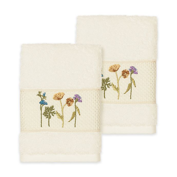 Alternate image 1 for Linum Home Textiles Serenity Wildflower Washcloths in Cream (Set of 2)